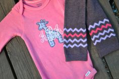 Baby Girl Outfit Monogrammed Sofie Giraffe Silhouette Christmas Gift Pink Purple Onesie with coordinating legwarmers set