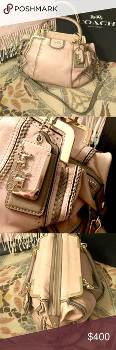 "Limited Edition Coach Madison Pinnacle Lily Bag Limited Edition Coach Madison Pinnacle Lily Bag in Blush. One owner. I purchased this from the Coach on Madison at retail of $800+.   9.5"" H x 5"" D x 15"" L  Strap drop: 6""   Gently worn, but in good shape (I loved the heck out of this bag). I had the leather workshop at Coach Columbus Circle do a full leather conditioning & cleaning. Discoloration on interior, but I did not try to clean it. Minor discoloration at top of bag, and wear to areas…"