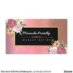 Chic Rose Gold Floral Makeup Artist Hair Stylist Business Card