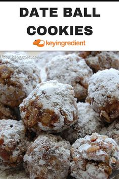 Date ball cookies are made of a batter with chopped dates and walnuts is lightly baked, then rolled into little balls and covered in sugar. Date Recipes Desserts, Just Desserts, Holiday Recipes, Cookie Recipes, Christmas Recipes, Date Cookies, Holiday Cookies, Sugar Cookies, Date Balls
