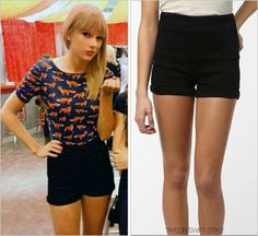Club RED | Los Angeles, CA | August 19, 2013 Urban Outfitters 'Cooperative High Waisted Denim Shortie' - $49.00 $9.99 Taylor's exact black color is sold out, but if you're a size 12 go ahead and grab these shorts in navy while you can! $9.99 is a...