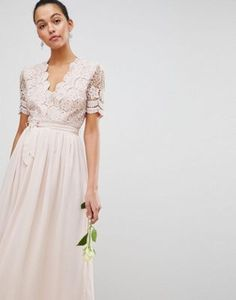 575d75da17f  56 Club L Short Sleeve Crochet Lace Maxi Dress With V Neck