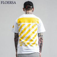 FLOERSA Mens T Shirts Fashion 2017 Simple Striped Printed Tops Tees High Quality Summer Round Collar Tee Shirt Homme#A491-33