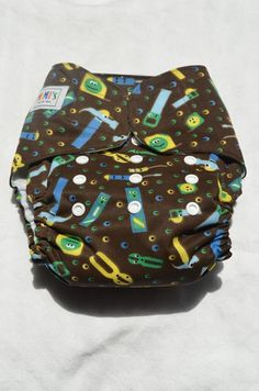 Brown Tools AIO w/ Pocket Cloth Diaper by MiMisDiapers on Etsy, $17.00