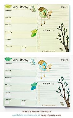 Get yourself organized with a weekly planner notepad from boygirlparty: http://shop.boygirlparty.com/products/forest-animal-weekly-planner-notepad