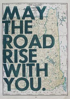 New Hampshire + Vermont map art