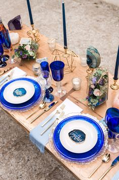 Better together calligraphy place settings on agate slices and cobalt blue glassware | Rose Quartz & Geode Wedding Inspiration | Patapsco Female Institute | Ellicott City MD by Marlayna Photography marlaynaphotography.com Click to see all the vendors from this shoot! Featured in Smitten Magazine