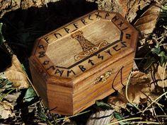 Pagan Wood Burned Runes and Thor's Hammer Mjolnir by ~AmaliaKouvalis on deviantART