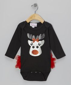 Take a look at this Black Reindeer Long Sleeve Ruffle Bodysuit - Infant by The Princess and the Prince on #zulily today!