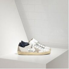 Golden Goose Super Star Chaussures In Leather With Suede Star Femme Blanc Bleu Soldes