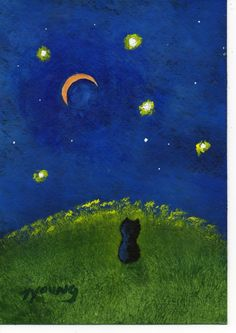 I remember getting up in the middle of the night in April of 2008. I found Elvis sitting in the middle of the yard, quiet (for once), surrounded by clover and staring at the moon. I always thought that image would make a good painting.   Schipperke Dog abstract original art painting by by ToddYoungArt, $34.95