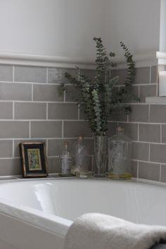 Grey Bathroom Renovation Ideas: bathroom remodel cost, bathroom ideas for small bathrooms, small bathroom design ideas Upstairs Bathrooms, Grey Bathrooms, Beautiful Bathrooms, Tiled Bathrooms, Small Bathroom Tiles, Grey Bathroom Tiles, Paint Bathroom, Bath Room Tile Ideas, Bathroom Moulding