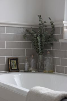 Grey Bathroom Renovation Ideas: bathroom remodel cost, bathroom ideas for small bathrooms, small bathroom design ideas Bathroom Renos, Laundry In Bathroom, Small Bathroom, Bathroom Grey, Family Bathroom, Grey Bathroom Tiles, Paint Bathroom, Bathroom Moulding, Gray And White Bathroom Ideas