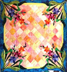The Charming Botanicals quilt pattern is a great series of floral table toppers (or wall hangings if you wish). Month 8, August Gladiola, is no exception. If you love Gladiolas in your garden, you'll love them in your house. These glads won't wilt either!