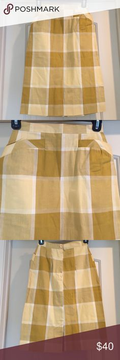 """•VTG• Mustard Plaid Midi Skirt Small This estate treasure is part of 5 skirts of the same size and age listed separately in my closet. Please let me know if interested in a bundle of these (FIVE) amazing handmade skirts! Excellent vintage condition. Back metal zip dates this to 50's early 60's. Zipper works as does the pretty mustard Button . 12"""" waist , Length 24"""". Beautiful Craftsmanship. Cotton/Blend. Plaid is squares of mustard, pale yellow, cream, and tan. Lovely! Two POCKETS on this…"""