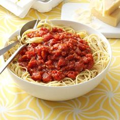 Homemade Meatless Spaghetti Sauce Recipe from Taste of Home -- shared by Sondra Bergy of Lowell, Michigan