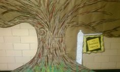 The Kindness Tree for the month of Feb kids that show a random act of kindness get a heart shaped leaf for the tree - hopefully the tree will be covered in leaves by the end of the month Found the idea online one school has a permanent mural of a plain tree on the wall and decorates with different things based on the season I just painted this tree on kraft paper andput up for the month