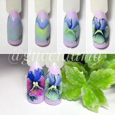 Фотография Nail Art Fleur, Rose Nail Art, Rose Nails, Flower Nail Art, Gel Nail Art, Manicure Nail Designs, Nail Manicure, Diy Nails, Nail Art Designs