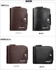 Men Toothpick Line Solid Color Letter Hasp Zipper Short Wallet