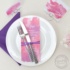 Hand painted, bold brushstrokes make the Aquarelle suite one of a kind! Mix it up and pick any color for the background of your menus, table numbers, and place cards.
