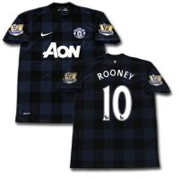 Manchester United Away Soccer Jersey with Wayne Rooney and Number 10 Patch included.