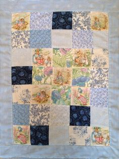 Vintage style patchwork quilt, featuring the characters from Beatrix Potters famous tales. Each quilt depicts 9 characters, and uses vintage style blue fabrics. The quilt is backed with soft fleece, perfect for any child or baby. The quilt measures approximately 90x65cm. Please note - the blue fabrics and border may vary to the ones in the picture, but Beatrix Potter illustrations will be the same.    Quilt can be personalised with names and dates. Please let us know any personalisation…