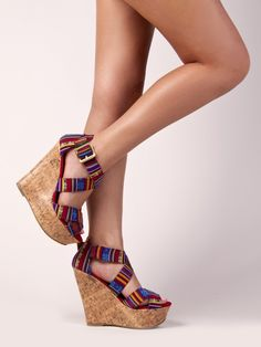 Delicious HALL Tribal Print Strappy Wedge Heel Platform Sandal