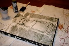 DIY PHOTO CANVAS. This one uses pretty scrap book paper on the edges.