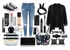 """""""~Black Beauty~"""" by rosalieex ❤ liked on Polyvore featuring Lord & Berry, Jimmy Choo, Eva Fehren, Marc Jacobs, River Island, Converse, BaubleBar, Boohoo, Maybelline and le top"""