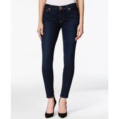 7 For All Mankind Skinny Dark Indigo Wash Jeans ($158) ❤ liked on Polyvore featuring jeans, dark indigo, dark jeans, white super skinny jeans, white jeans, denim skinny jeans and super skinny jeans