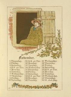 November - Kate Greenaway's Almanack for 1888