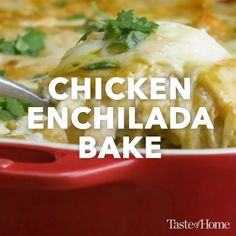 Chicken Enchilada Bake : Chicken Enchilada Bake Your family is going to gobble up this cheesy, southwestern and easy chicken enchilada casserole…and will ask for it again and again. It's real comfort food! Green Chicken Enchiladas, Chicken Enchilada Bake, Enchilada Recipes, Chicken Chili, Chicken Tortilla Casserole, Enchilada Sauce, Lemon Chicken, Casserole Recipes, Soup Recipes