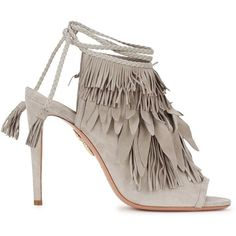 Womens High-Heel Sandals Aquazzura Pocahontas Fringed Suede Sandals ($825) ❤ liked on Polyvore featuring shoes, sandals, peep toe sandals, heeled sandals, tie sandals, high heel sandals and fringe heel sandals