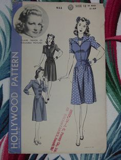 This style us too cue - I especially love the blue polka dot contrast version. It would look cute as a playsuit too. (1940's Hollywood Movie Star No.933 Claire Trevor Dress Pattern)