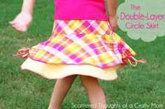 Double layer circle skirt- posted by Jamie Sanders  First up is this adorable drop-waist Double Layer Circle skirt made from some knit fabrics in my stash.  I added a ruched tie embellishment on each side for a little something extra.  I didn't do a full tutorial for this project, but I can show you a few of the details if you would like to make a similar skirt.