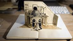 Will Freeborn: Pop up book self portrait Moleskine, Quentin Blake, Grayson Perry Art, Paper Pop, Book Sculpture, Paper Sculptures, Art Sketchbook, Collage Art, Pop Up