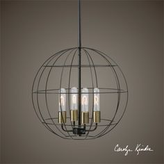 Taking the clean lines of a globe we have created a distressed bronze ball cage around an industrial cluster of sockets accented with antique brass highlights giving an modern look while keeping industrial undertones. Four antique style tubular 40 watt bulbs are included.