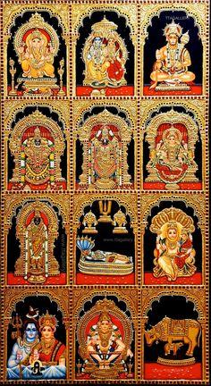 Mysore Painting, Tanjore Painting, All God Images, Online Art Store, Pooja Room Door Design, Lord Balaji, Hindu Deities, Hinduism, Ganesh Images