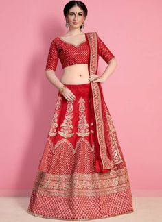 Beautiful Coral Red Color Art Silk Embroidered Wedding Wear Lehenga Choli Capture the exuberance of womanhood in its full glory that will bring out your fragility and femininity. Women beauty is magnified tenfold in this coral red color embroidered leheng Lehenga Choli Online, Bridal Lehenga Choli, Silk Lehenga, Saree, Embroidered Clothes, Embroidered Silk, Wedding Lehenga Designs, Red Blouses, Wedding Wear