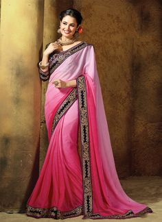 Real magnificence will come out of your dressing style and design with this pink velvet and georgette designer saree. The ethnic embroidered and patch border work over a dress adds a sign of magnifice...