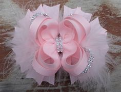 Light Pink 5 Inch Stacked Boutique Bling Bow