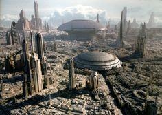 Coruscant: The capitol of the Galactic Republic and Empire in the Star Wars universe Futuristic City, Futuristic Architecture, Future City, Jedi Meister, Rpg Star Wars, Star Wars Website, Sci Fi City, Galactic Republic, Star Wars Concept Art