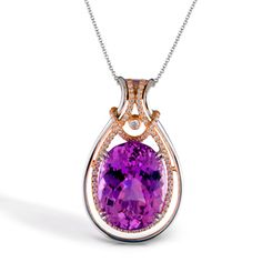 Enchanted Color Collection � This splendid 18K white and rose pendant features a 17.35ct natural Kunzite, with .38ctw round white Diamonds. � TP274