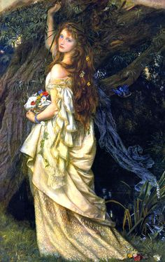 "Arthur Hughes, ""Ophelia"". I believe this is his second Ophelia painting. Also lovely, but very different from the first."