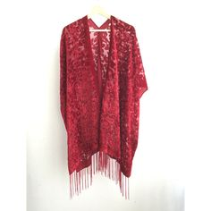 Mary Red Hippie Boho Gypsy Kimono Velvet Jacket Boho Devore Burnout... (3.595 RUB) ❤ liked on Polyvore featuring grey, outerwear and women's clothing