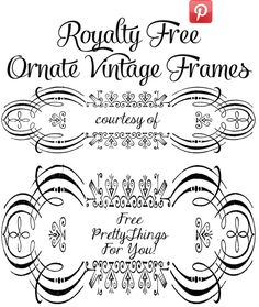 Royalty Free Images: Ornate Frames - perfect for home decor diys,  invitations and more! @Penny Douglas Pretty Things For You
