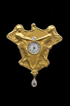 Delightful Art Nouveau Pendant Watch. Gold, Diamond. Inspirations: Nicolas Poussin 'A Dance to the Music of Time'  and 'Dance of the Hours' by Flaxman the great Georgian sculptor who designed the Wedgwood friezes.  Delicately modelled bass relief in the manner of René Lalique. Swiss, c.1900.