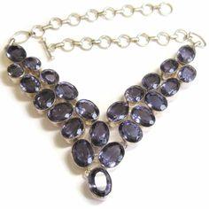 Purple Amethyst Sterling Plated Bib Choker Necklace