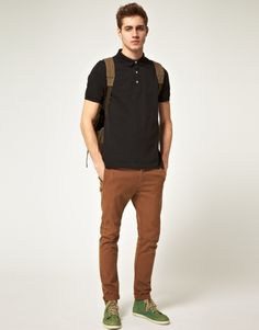 Black Polo + Tobacco Chinos + Backpack