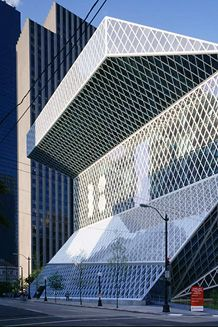 Seattle Central Library, USA. Designers developed a diagonal grid system of insulated glass on a steel structure that provides great stiffness to resist lateral forces | Arup